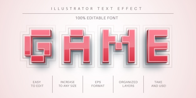 3d game text effect, font style