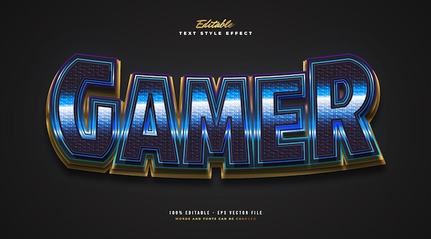 3d gamer text style in blue and gold with glitter effect. editable text style effect