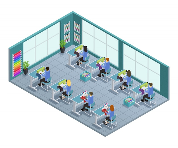 3d garment factory isometric composition with workshop on tailoring in the factory vector illustrati