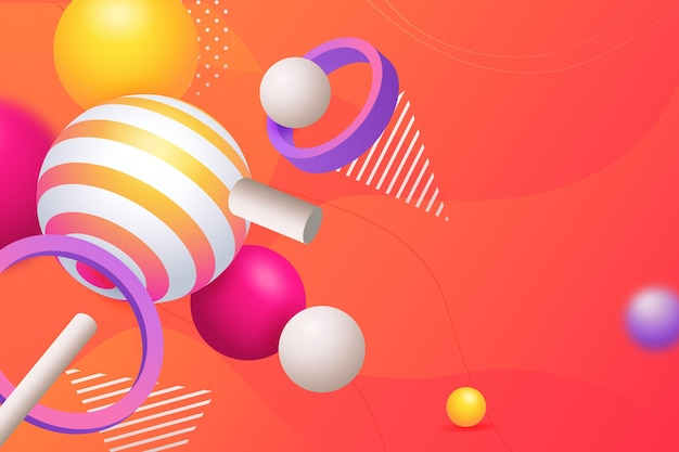 3d geometric candy shapes for landing pages