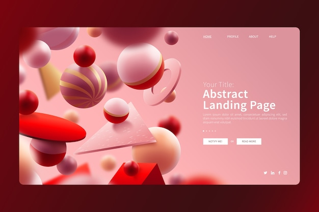 3d geometric colourful balls landing page