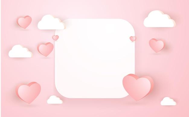 フレーム付きの3d幾何学的なエレガントなピンクの表彰台と雲