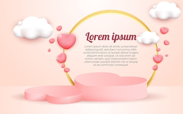 3d geometric elegant pink podium and cloud for product placement with circular frame