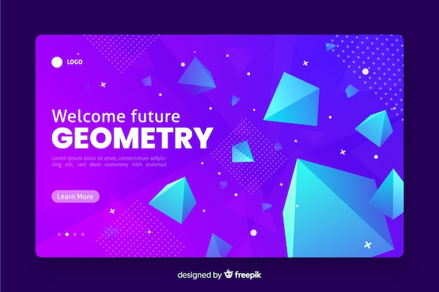 3d geometric landing page with pyramids