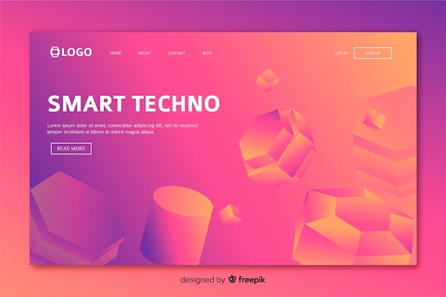 3d geometric landing page with web elements