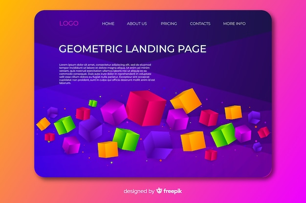 3d幾何学的なランディングページ