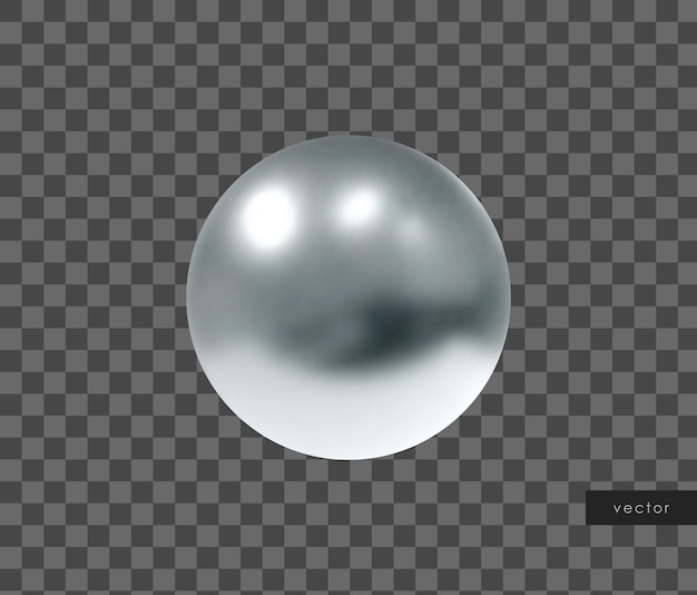 3d 기하학적 개체입니다. 격리 된 금속 은색 구입니다. 벡터.