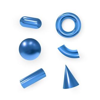 3d 기하학적 개체입니다. 격리 된 금속 파란색 모양입니다. 벡터.