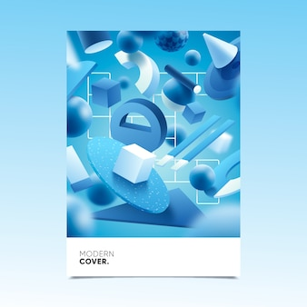 3d geometric shapes cover style