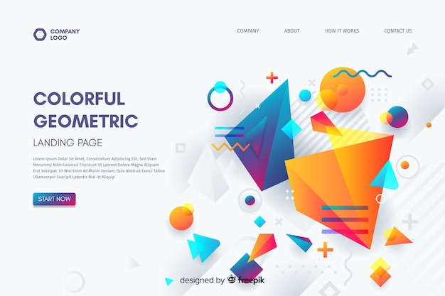 3d geometric shapes landing page template