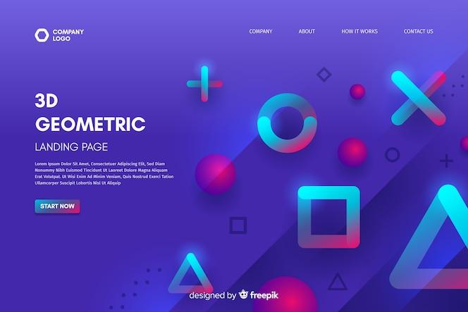 3d geometric shapes landing page template