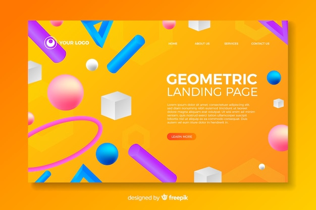 3d geometric shapes landing page