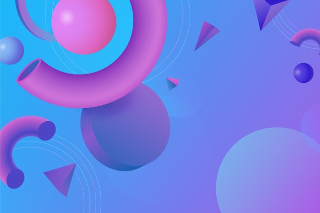 3d geometric shapes for landing pages and copy space