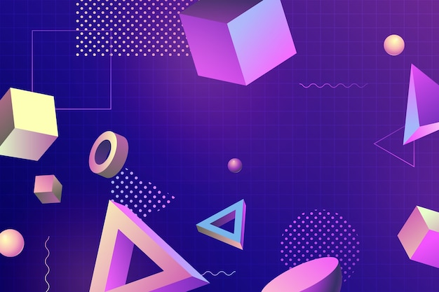 3d geometric shapes for landing pages and memphis effect