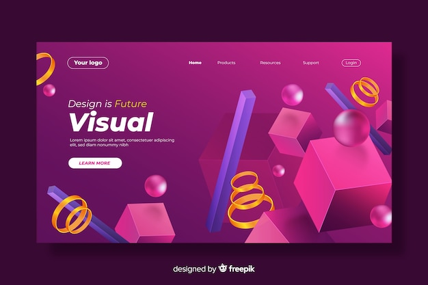 3d geometric shapes mixture landing page