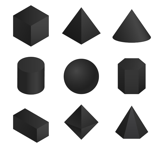 3d geometric shapes set