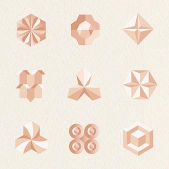 オレンジ色の抽象的なスタイルセットの3d幾何学的形状ベクトル