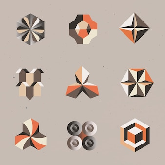 3d geometric shapes vector in orange abstract style set