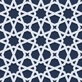 3d geometric white seamless pattern arabic style