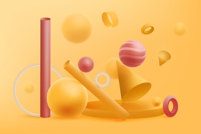 3d geometrical shapes background