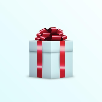 3d gift box wrapped red ribbon