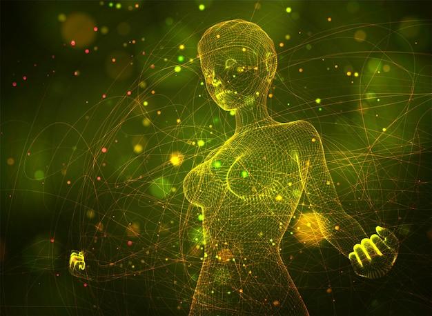 3d девушка из точек и сплайнов, среди волнистых ниток и кругов на желто-зеленом фоне