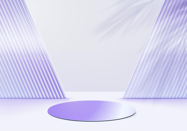 3d glass background products display podium scene with violet platform. background vector 3d rendering with podium. stand to show cosmetic products. stage showcase on pedestal display purple studio