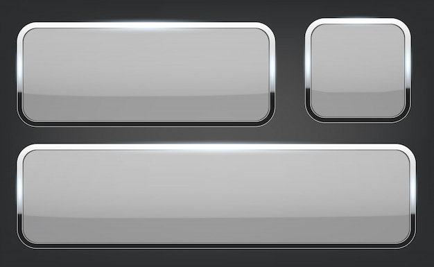 3d glass buttons with chrome frame background.