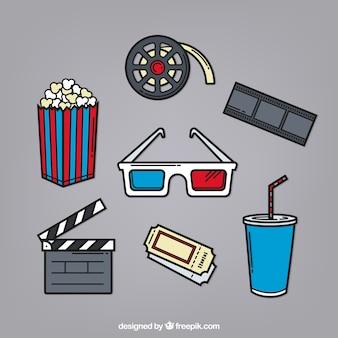 3d 안경 및 다른 손으로 그린 영화 요소
