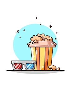 3d glasses and popcorn illustration