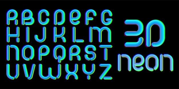 Шрифт с эффектом 3d глюк. латинские буквы от а до я. трендовый дизайн шрифтовой гарнитуры 2021 года. для музыкальных мероприятий, баннер, флаер, дизайн обложки.