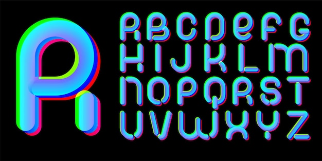 3d glitch effect font. latin letters from a to z. trending 2021 typerface design. for music events, banner, flyer, cover design.