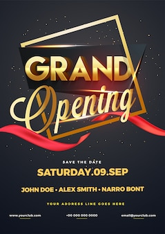 3D gloden glossy text Grand Opening in frame.
