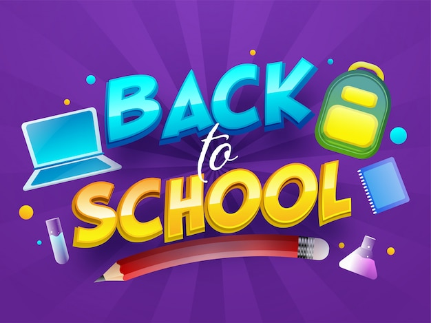 3d glossy back to school text with laptop, backpack, pencil, test tube and notebook on purple rays background.