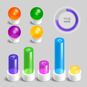 3d glossy detailed infographic in different colors