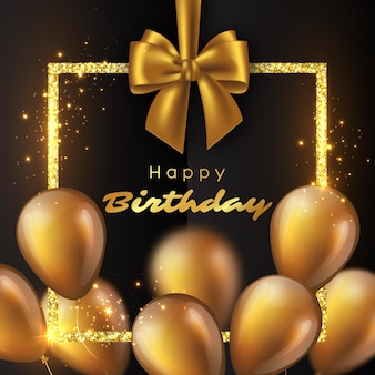 3d glossy golden balloons with glitter frame and bow. luxury happy birthday design. illustration.