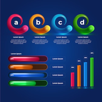 3d glossy infographic collection template