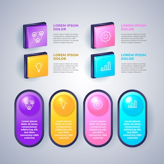 3d glossy infographic with steps