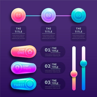 3d glossy infographics with timeline chart