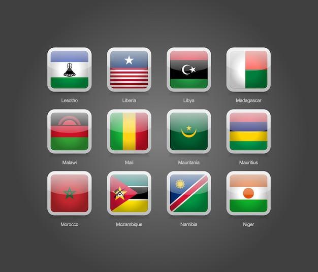 アフリカ諸国の旗のための3d光沢のある正方形の丸い形のアイコン