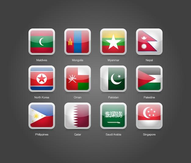 アジア諸国の旗のための3d光沢のある正方形の丸い形のアイコン
