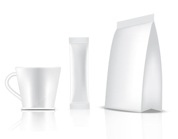 3d光沢スティックサシェとカップが分離されました。食品および飲料の包装コンセプトデザイン。