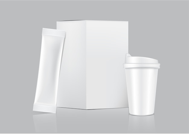 3d光沢のあるスティックの小袋と白い背景で隔離の紙箱とカップ。食品および飲料の包装コンセプトデザイン。