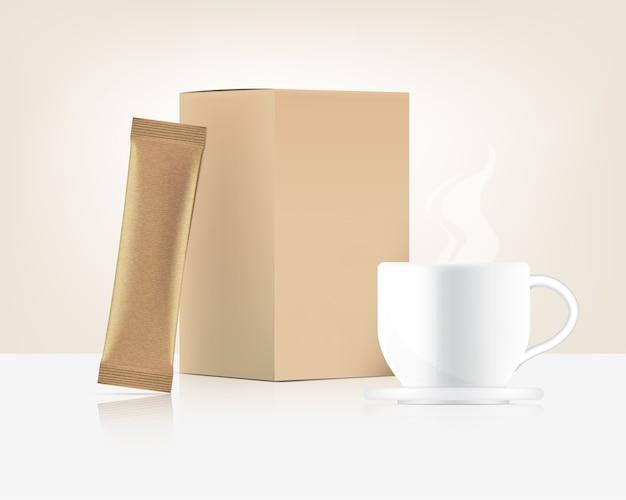 Саше ручки 3d и чашка при бумажная коробка изолированная на белой предпосылке. дизайн концепции упаковки продуктов питания и напитков.