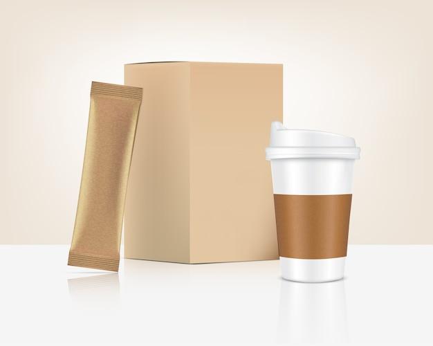 3d 광택 스틱 향 주머니와 컵 종이 상자 흰색 배경에 고립. 음식과 음료 포장 컨셉 디자인.
