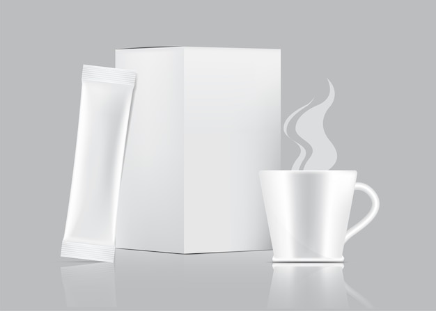 3d glossy stick sachet and cup with paper box isolated