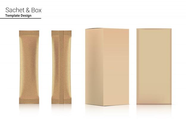 종이 상자 이랑 격리와 3d 광택 스틱 향 주머니 앞면과 뒷면. 삽화. 음식과 음료 포장 컨셉 디자인.