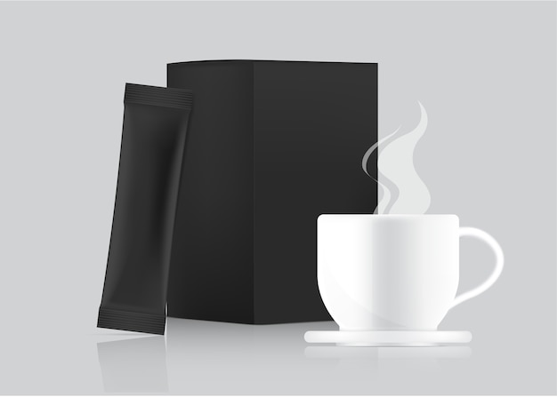 3d glossy stick sachet template and cup with paper box isolated on white background. food and beverage packaging concept design.