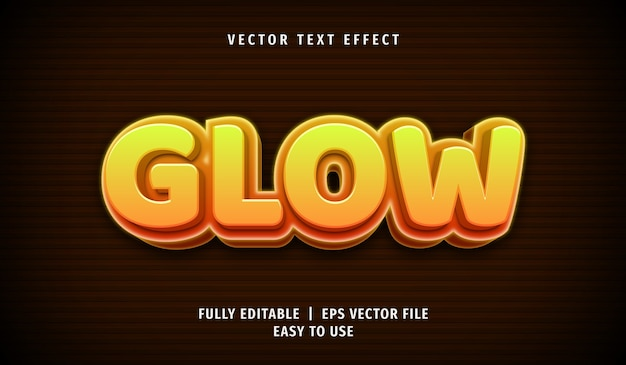 3d glow text effect, editable text style