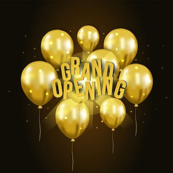 3d gold balloon flying grand opening template